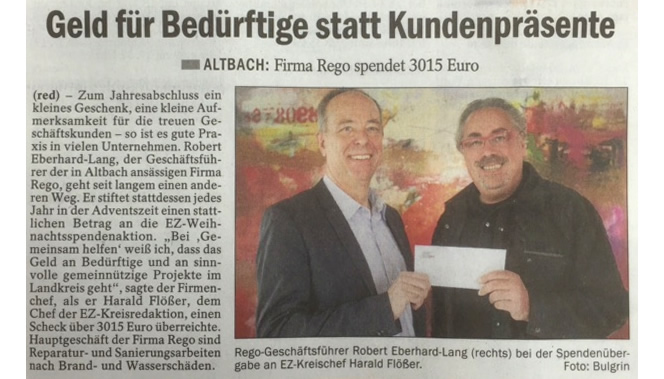 rego Spendenaktion 2015